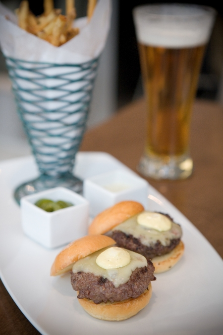 mini organic beef burgers & frites photo by Clare Marie
